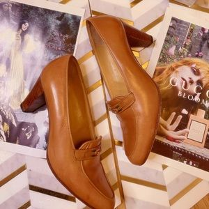 Vintage 70s Brown Leather Gucci Heels 7.5 8